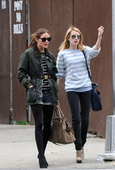 Emma Roberts wearing Chloe Elsie Leather Satchel Ray-Ban Aviator Rb3025 Aviator Large Metal Sunglasses Elizabeth and James Maryl Cutout Slingback