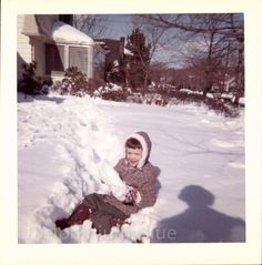 Vintage  Color Photo  Child Playing In The Snow by delphiniumsblue, $5.00