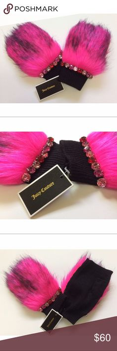 Rare Juicy Couture Pink & Black Fur Handwarmers NWT Womens Very Rare Juicy Couture Pink & Black Fur Handwarmers/Mittens 100% Authentic. No Negotiation on Price, it is firm, you can't find this any where else, Limited Addition NEW!! Authentic Juicy Couture Gloves Juicy Couture Accessories Gloves & Mittens