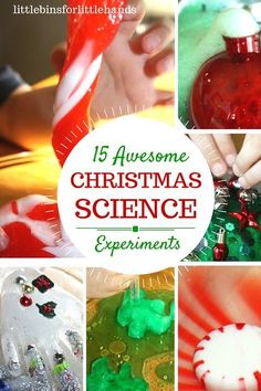 Christmas science activities and Christmas experiments for kids. Try classic science experiments with holiday themes for hands-on learning. Christmas STEM for home or classroom science class. Baking soda science, slimes, dissolving candy, ice melting, and more.