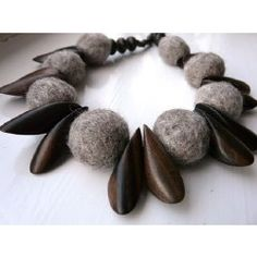 """Chrissie, the shop owner of """"Make your presents felt"""" does some wonderful designs with felt. I am totally in love with this Felt bead and wooden petal choker necklace.  http://www.etsy.com/shop/makeyourpresentsfelt"""