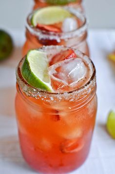 Strawberry Margaritas...or limeades, whatever.