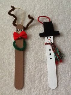 #Christmas Ornaments from tongue depressors