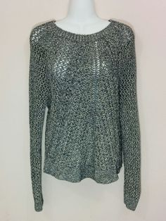 Lucky Brand black & silver crochet long sleeve sweater knit top, XL, #3091 #LuckyBrand #ScoopNeck