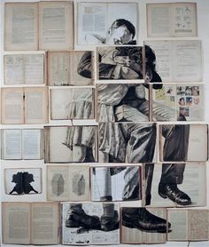 """workman: """" cjwho: Book Art by Ekaterina Panikanova She says: """"I like working on old books: I like the way the wear and tear, underlinings, notes and scribblings enable me to perceive the personalities. Old Book Art, Book Page Art, Old Book Pages, Old Books, Expressive Art, Gcse Art, Book Projects, Recycled Art, Altered Books"""