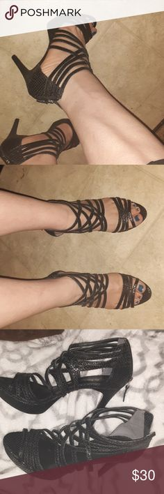 2ffd8626c950 Spotted while shopping on Poshmark  Pour la Victoire black strappy heels!   poshmark