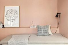 Elegant and feminine interior in pink and gray