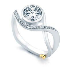Mark Schneider Aurora 1.10cttw bezel set round diamond engagement ring from Mullen Jewelers
