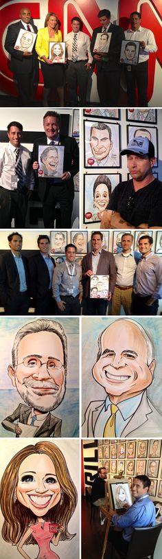 In September 2012, CNN hired 2 artists from Goofy Faces to draw their staff along with guests for four straight days at the CNN Grill during the National Convention in Charlotte, NC. CNN reporters, celebrities, politicians and other attending VIPs were enshrined on the back wall of the grill with their full color caricature. We loved adding CNN to our growing list of clients!  If you would like to join the list, contact Goofy Faces for a quote at www.goofyfaces.com/contract