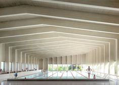 """""""A cross-laminated timber roof covers this six-lane swimming pool, which London firm Hawkins\Brown plans to add to a school in Surrey. Read the full story…"""" Timber Architecture, Timber Buildings, School Architecture, Architecture Design, Indoor Swimming Pools, Swimming Pool Designs, Lap Swimming, City Of London, Swimming Pool Architecture"""