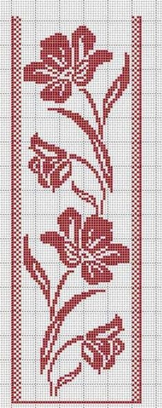 Discover thousands of images about crochet filet rose border Cross Stitch Bookmarks, Cross Stitch Borders, Crochet Borders, Crochet Chart, Cross Stitch Flowers, Filet Crochet, Cross Stitch Designs, Cross Stitching, Cross Stitch Embroidery