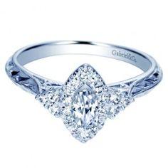 14K White Gold Marquise Halo Pre-Set 1/2CTW Ring Wedding Day Diamonds