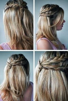 cute braided hairstyles for long hair tutorial.#prom