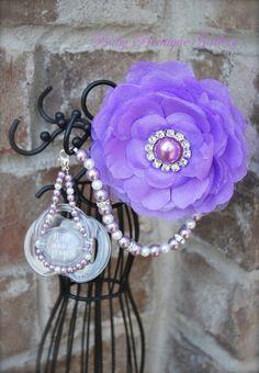 Lavender Flower 4-in-1 Beaded Pacifier Holder