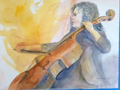Music Rising for the Cellist #Cello #watercolor #yellow #custom Do you have a musician in your life that needs a portrait? Contact email for specific commission:  Lee@LeeBauman.com