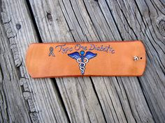 Hand Carved Diabetic Medical Leather Cuff Bracelet