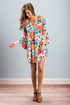 """""""Caribbean Calling Dress, Ivory"""" The islands are calling! Can't you hear it! We definitely can! The colors and that print are so tropical and fun! #newarrivals #shopthemint"""
