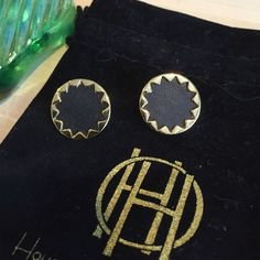 House of Harlow Earrings Gold with black inside. These always felt to big for me so I would pick a different pair every time I was in my jewelry drawer. I am hoping someone else will enjoy them. House of Harlow 1960 Jewelry Earrings