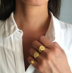 Signet Rings Are Trending | The Power of Personalization: Letters by Zoe Engravable Signet Rings in Gold Vermeil  Gold jewerly, gold rings, jewelry trends