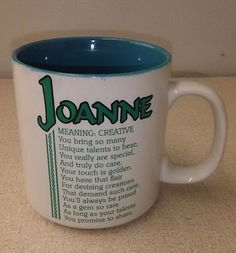 Papel Name Coffee Mug Joanne Meaning Creative Poetry Marked Marci G. Collectible #Papel