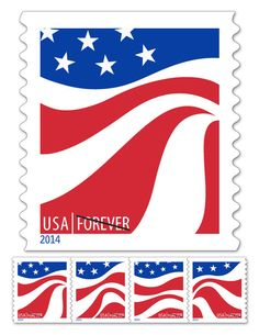 USPS New Red, White and Blue Forever Stamp Roll of 10,000