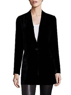 This is such a lusious blazer to wear this fall and winter. Saks Fifth Avenue Collection Velvet Boyfriend Blazer