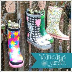 recycled rain boot planters!
