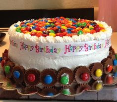 Birthday cake with m topping and mini reeses'