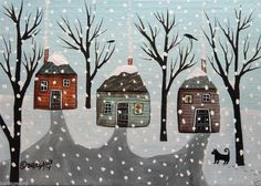 Winter Cabins 5x7 inch Canvas Panel ORIG PAINTING PRIM FOLK ART ABSTRACT Karla Gerard..new painting for sale.. #FolkArtAbstractPrimitiveLandscape