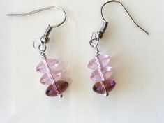 Pink and Lavender Glass Earrings