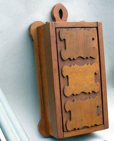 Folk art kitchen knife box with secret compartment