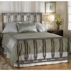 Phoenix Iron Headboard by Wesley Allen - Silver Bisque Finish Iron Furniture, Bedroom Furniture, Furniture Design, Furniture Stores, Iron Headboard, King Headboard, Steel Bed Design, Bed Frames For Sale, Wrought Iron Beds