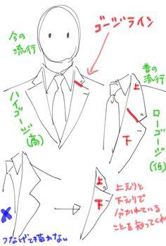 """@ogami_mgn あと兎に角ゴージラインを知ってくれ。上襟と下襟の繋ぎ目部分のライン(赤線)。時代の流行によって上下する。昔の映画見ると低いのがわかる。今は高めが主流。スーツ初心者がやらかしがちなのが左下だからお願い知ってくださ"""
