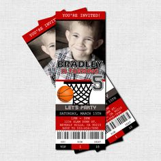 BASKETBALL TICKET INVITATIONS Birthday Party - (print your own) Personalized Printable -Adorable!!