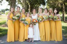 409c63905c09 A-Line V-neck Long Cheap Yellow Jersey Convertible Bridesmaid ...