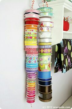 ribbon storage roundup - A girl and a glue gunYou can find Ribbon storage and more on our website.ribbon storage roundup - A girl and a glue gun Ribbon Organization, Sewing Room Organization, Organizing Life, Diy Shoe Storage, Craft Room Storage, Craft Rooms, Craft Ribbon Storage, Storage Ideas, Paper Storage