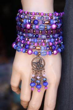 Purple-Violet Ten Wrap Gypsy Bracelet от monroejewelry на Etsy