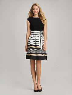 Misses | Dresses | Cocktail Dresses | Striped Drape-Neck Dress | dressbarn