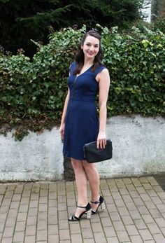 Fall Wedding Look on Countdown to Friday. Love me some embellished pumps and a navy/black dress!