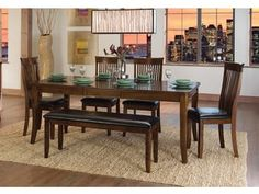 The Puluxy 7 Piece Dining Set Makes Having A Meal All More Satisfying Light Brown Stained Finish Lends Rustic Feel Chair Seats With Loo