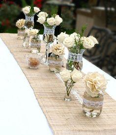 rustic country lace mason jar wedding centerpiece / http://www.himisspuff.com/rustic-mason-jar-wedding-ideas/10/