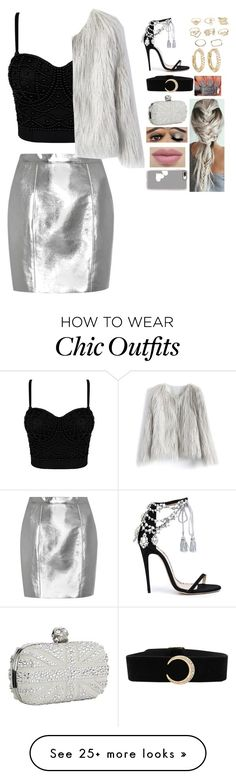 """""""gray /black"""" by nori-bane on Polyvore featuring Yves Saint Laurent, Marchesa, Chicwish, Charlotte Russe, Jennifer Meyer Jewelry, Alexander McQueen and Casetify"""