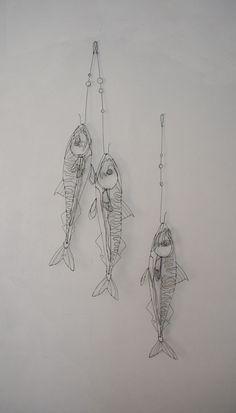 maquereaux-Saw. Wire Art Sculpture, Wire Sculptures, 3d Zeichenstift, Sculptures Sur Fil, Stylo 3d, Art Fil, Metal Art Projects, A Level Art, Wire Crafts