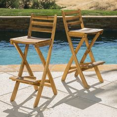 Atlantic Foldable Outdoor Wood Bar Stool Bar Stools
