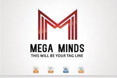 Mega Minds,M Letter logo by @Graphicsauthor