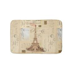Eiffel Tower Vintage French Postcard Bathmat
