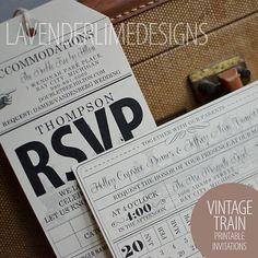 Printable Vintage Train Travel WEDDING or BIRTHDAY Custom Invitation Set