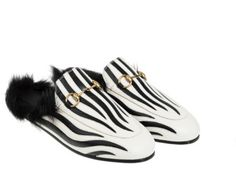 Gucci Princetown mules. Zebra leather. Lamb Fur lining. The Vogue Edit.