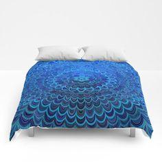 SOLD in my Society6 store: Blue Flower Mandala Comforter by David Zydd  #decor #homedecor #artwork #bedroomdecor