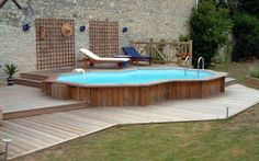 Elegant Semi In ground Pools with Natural Materials : Small Semi Inground Pool Wooden Deck Fence And Lounge